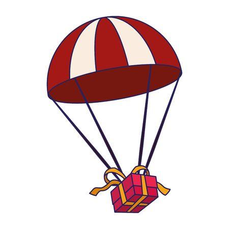 Fallschirm mit Geschenkbox auf weißem Hintergrund, Vektorillustration