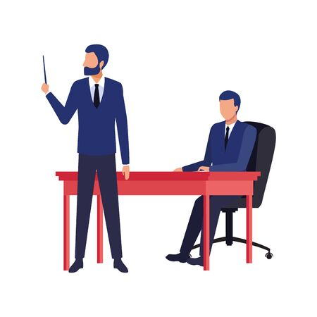 avatar businessmen at the office over white background, colorful design , vector illustration