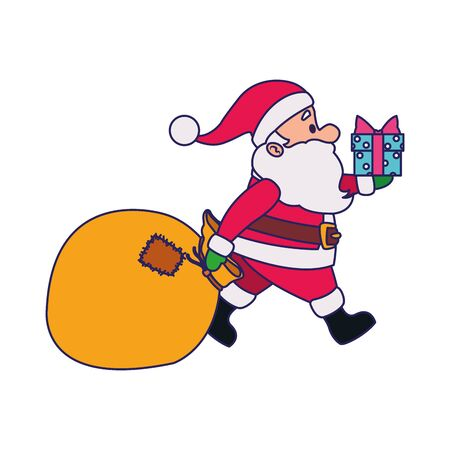 cartoon santa claus with gift box and big bag over white background, vector illustration Vector Illustration