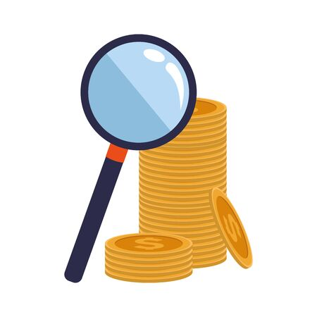 magnifying glass and coins stack over white background, vector illustration