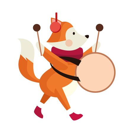 cute fox playing a drum icon over white background, vector illustration