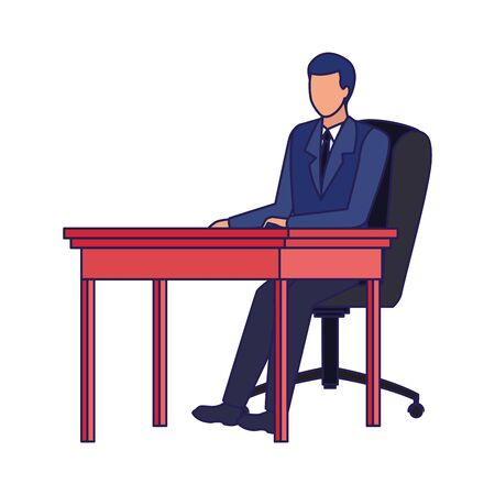 avatar businessman at office chair and desk over white background, vector illustration