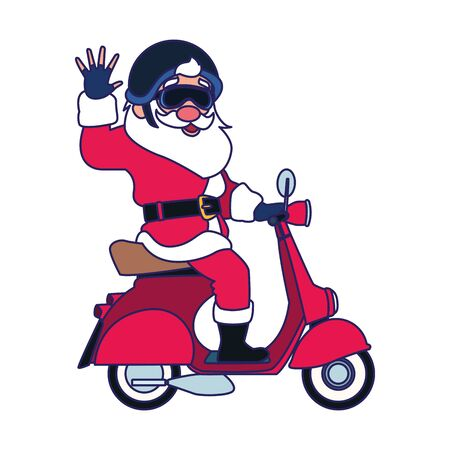 cool santa claus riding a motorcycle over white background, vector illustration Illustration