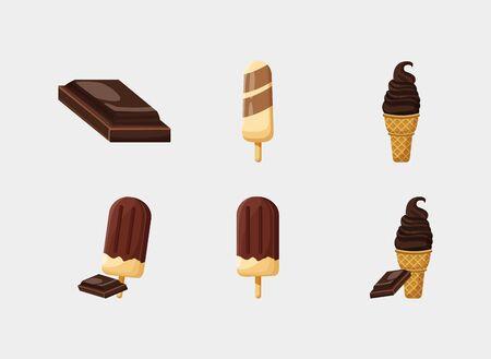Süße Schokolade Icon Set Design, Dessert Essen leckeren Zucker Snack und leckeres Thema Vector Illustration