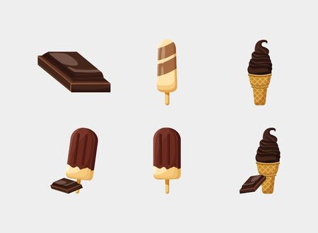 Sweet chocolate icon set design, dessert food delicious sugar snack and tasty theme Vector illustration