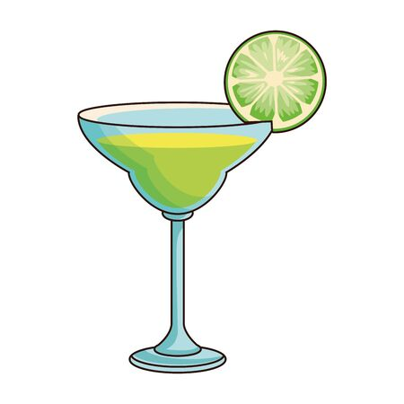 green martini cocktail icon over white background, vector illustration Illustration