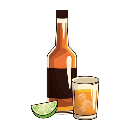 beer bottle and glass icon over white background, vector illustration