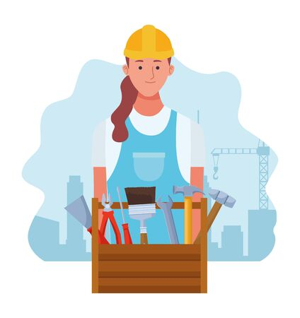cartoon repair woman and repair tools box over white background, colorful design , vector illustration