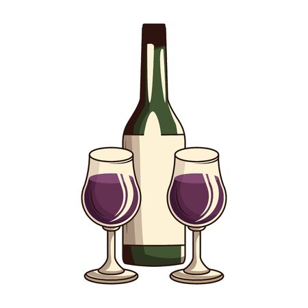 wine bottle and glasses over white background, vector illustration
