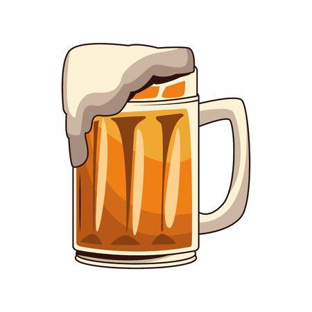 beer mug icon over white background, vector illustration