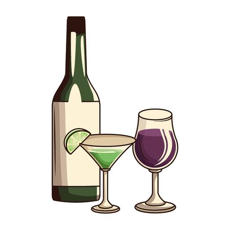 liquor bottle with wine glass and over white background, vector illustration Ilustração
