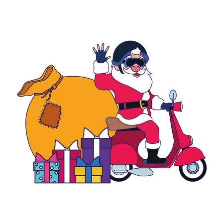 cool santa claus on a motorcycle with gift boxes over white background, vector illustration