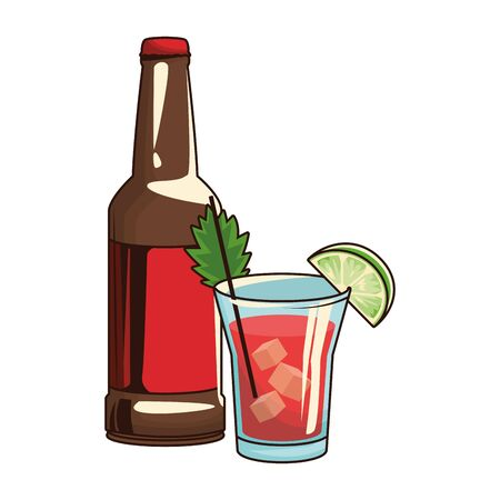 shot and beer bottle icon over white background, vector illustration