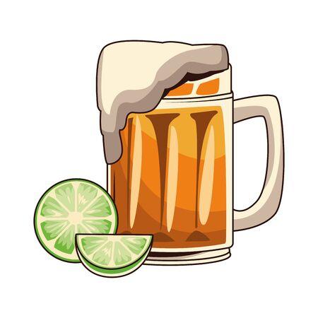 lemons and beer mug icon over white background, vector illustration
