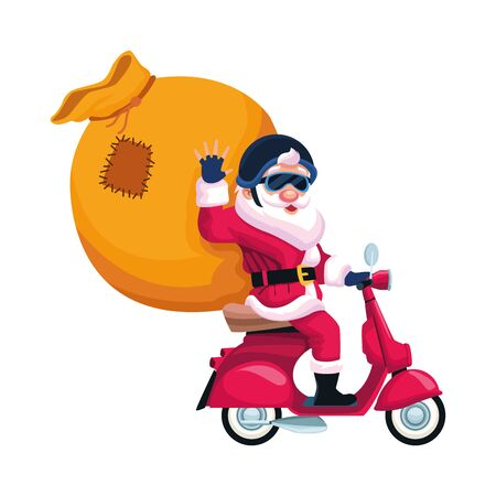 cartoon santa claus with big bag on a motorcycle over white background, vector illustration Vector Illustration