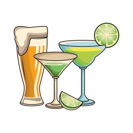 martini cocktails and beer glass icon over white background, vector illustration Ilustração