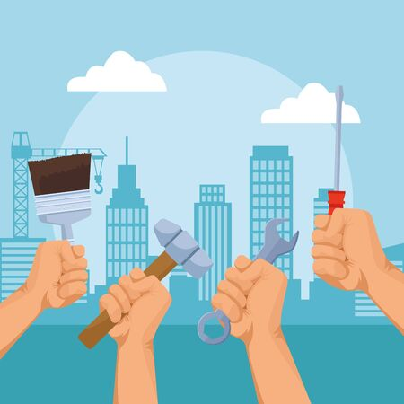 hands with repair tools over urban city buildings background, colorful design , vector illustration