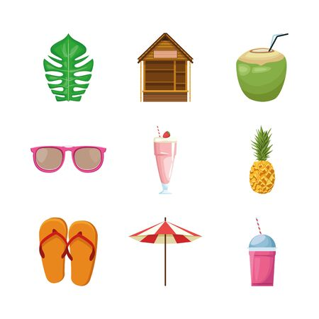Summer and vacation icon set design, Beach tropical relaxation outdoor nature tourism island and season theme Vector illustration