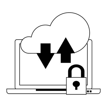 Cloud computing technology laptop and security padlock symbols vector illustration graphic design