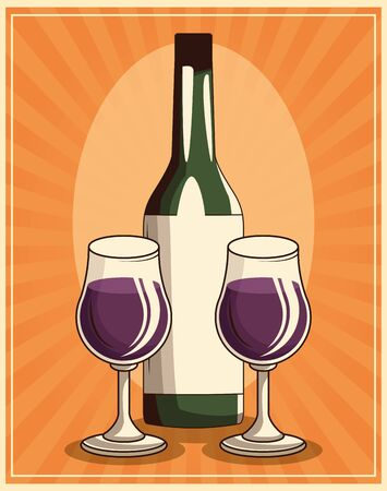 wine glasses and bottle over retro orange background, colorful design , vector illustration