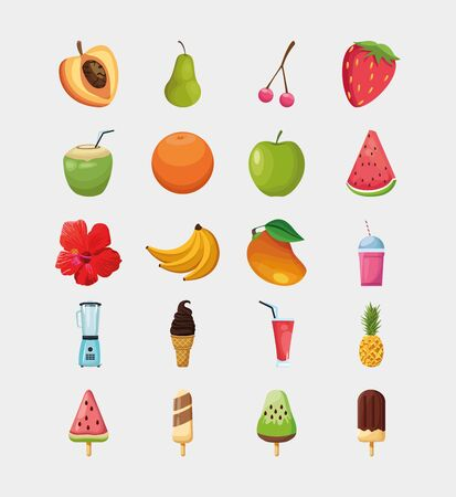 Fruits and ice cream icon set design, Healthy organic food sweet nature juicy and tropical theme Vector illustration