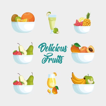 Fruits icon set design, Healthy organic food sweet nature juicy and tropical theme Vector illustration Illusztráció