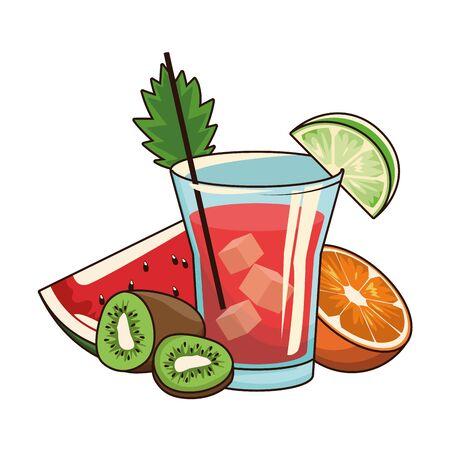 tropical fruits and liquor shot over white background, vector illustration Иллюстрация