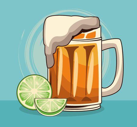 lemons and beer mug over blue background, colorful design , vector illustration