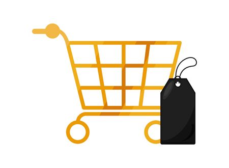 shopping cart market with tag vector illustration design