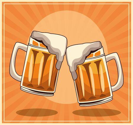 beer mugs over orange retro background, colorful design , vector illustration