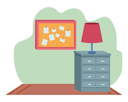 Office workplace light lamp on drawer and corkboard with notes elements cartoons ,vector illustration graphic design. Ilustração