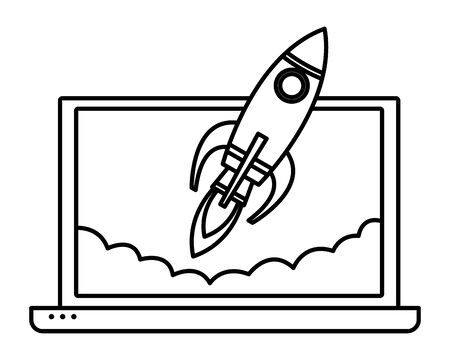 laptop with a rocket icon cartoon isolated in black and white vector illustration graphic design
