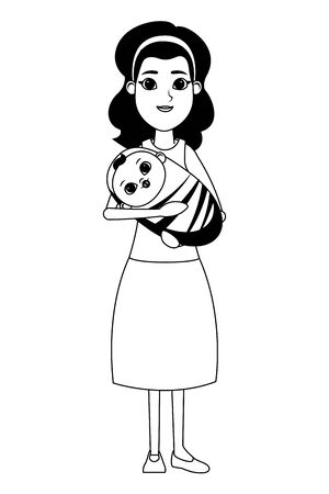 family woman carrying a baby on her arms avatar cartoon character portrait vector illustration graphic design