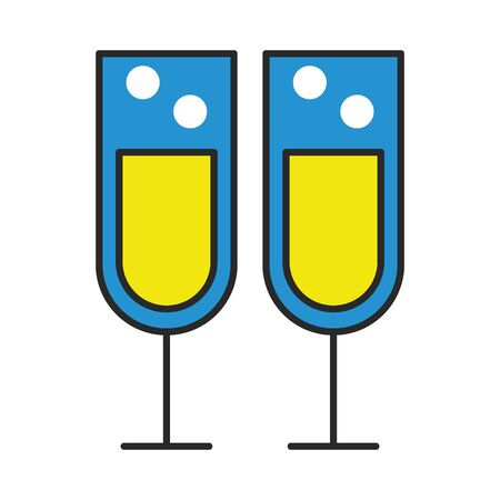 champagne cups drink isolated icon vector illustration design