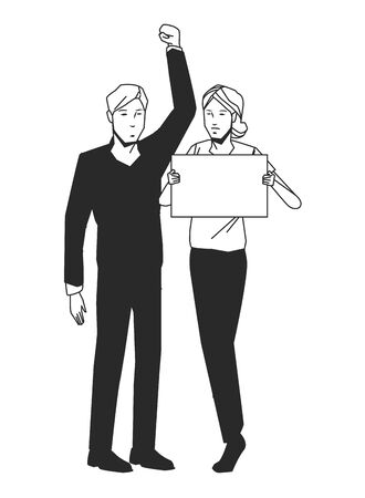 social activity and public protest woman raising a blank sign man with the fist in the air in black and white avatar cartoon character