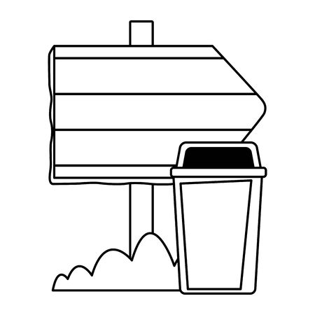 garbage can and wooden sign icon cartoon in black and white vector illustration graphic design