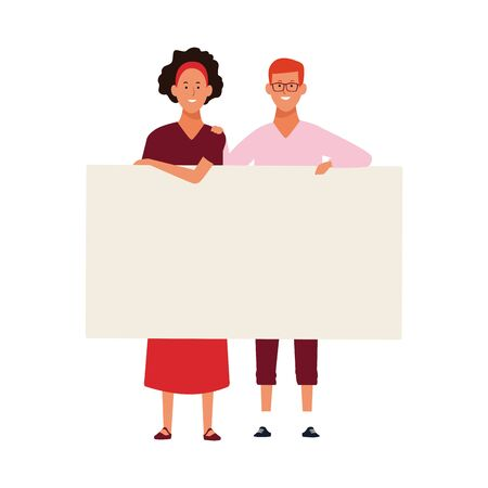 adult woman and man holding a placard icon over white background, vector illustration
