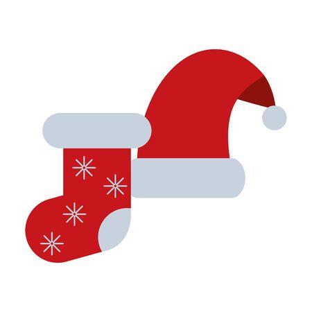 merry christmas sock and santa hat decorative icon vector illustration design Ilustração