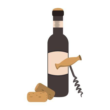 Corkscrew and wine glass over white background, vector illustration Ilustração