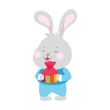 cute rabbit with lucky bag over white background, colorful design. vector illustration