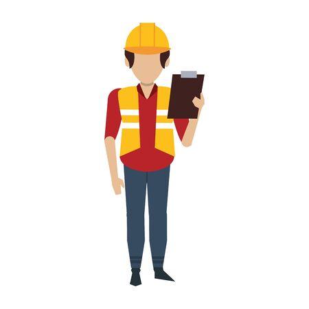 Warehouse worker with clipboard avatar faceless vector illustration 일러스트