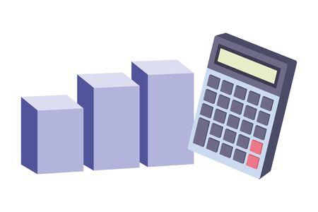 Office elements and business symbols statistics bars and calculator ,vector illustration graphic design. Illustration