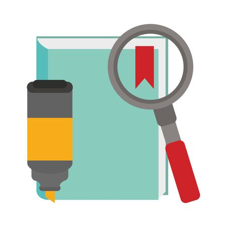academic book with magnifying glass and highlighter pen over white background, vector illustration