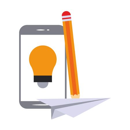 elearning and education smartphone on bulb light and pencil with paper plane symbols vector illustration graphic design