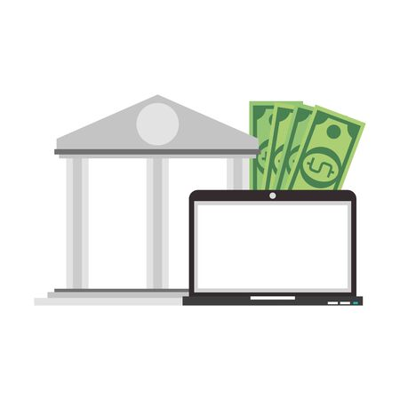Online bank website and laptop with money symbols vector illustration graphic design