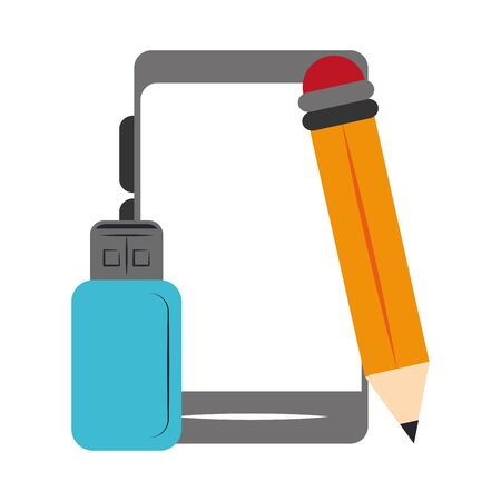 pencil with smartphone and usb icon over white background, vector illustration