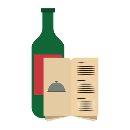 restaurant food and cuisine bottle with wine and menu icon cartoons vector illustration graphic design Ilustração