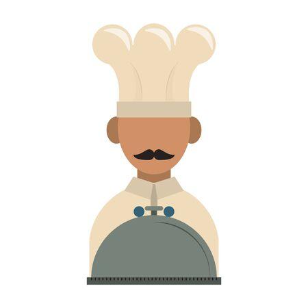 restaurant food and cuisine chef avatar with food tray icon cartoons vector illustration graphic design Ilustração