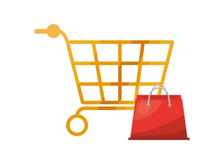 shopping cart and bag market isolated icon vector illustration design