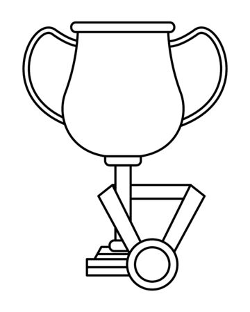 trophy cup award with medal and ribbon icon cartoon in black and white vector illustration graphic design 일러스트